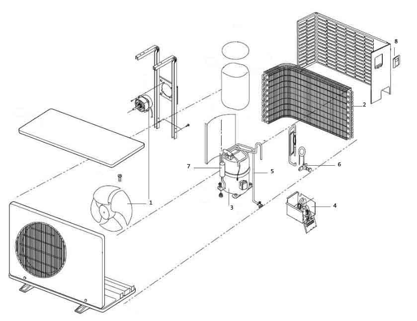 Схема устройства внешнего блока кондиционера