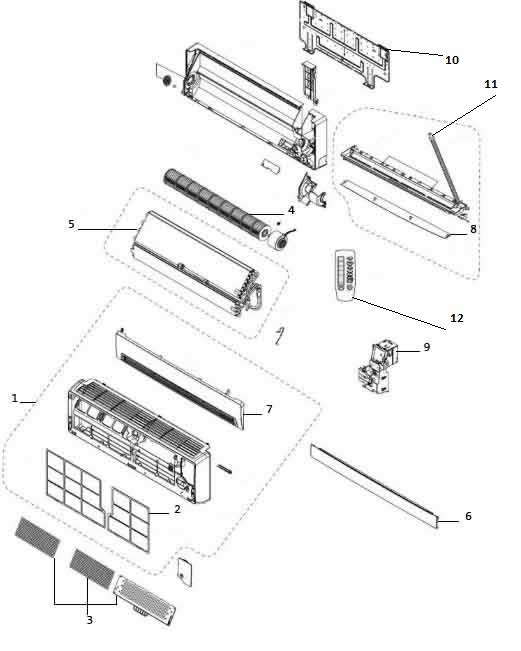 Схема устройства внутреннего блока кондиционера